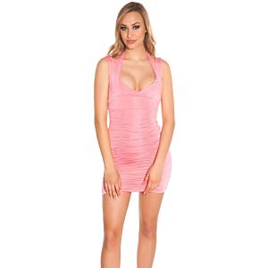 Dress with Neckstraps, Gathered Pink