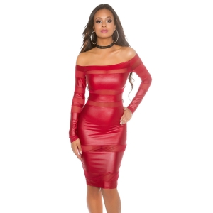 SEXY WETLOOK DRESS JLO LOOKWITH MESH