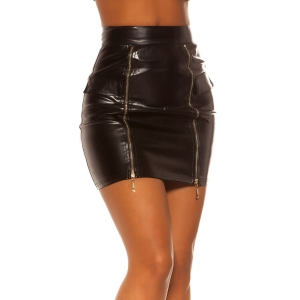 LETHER LOOK SKIRT WITH ZIPS - Black