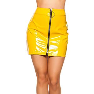 Wetlook  Skirt With Zip Yellow