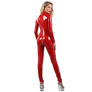 Sexy Vinyl Catsuit- Red