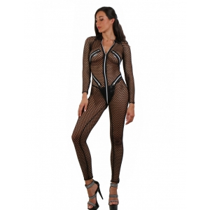 Festival Fashion Catsuit with five zips Black