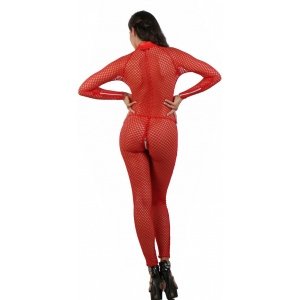 Festival Fashion Catsuit with five zips Red