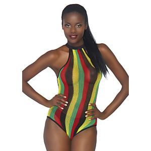 Rasta bodysuit w. snap crotch - One Size