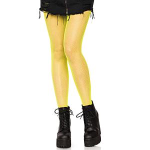 Nylon Fishnet Pantyhose - Neon Yellow