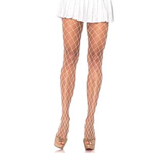 Diamond Fishnet Pantyhose - White