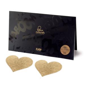 Αυτοκόλητα Θηλών - Flash Heart Nipple Stickers Gold