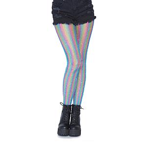 Lurex rainbow fishnet tights