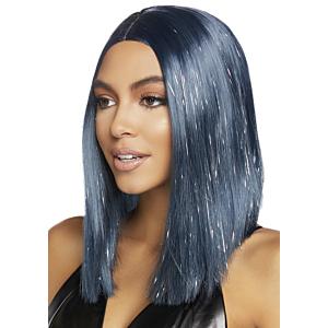 Long bob wig with tinsel - Midnight Blue