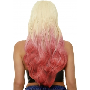 Beachy waves long ombre wig - Blond / Pink