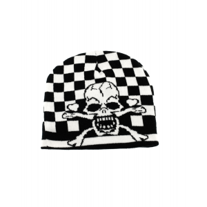 Skull & Crossbone Checkered Unisex Beanie