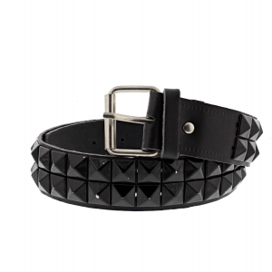 Black on Black 2-Row Pyramid Studded Reconstructed Leather Belts