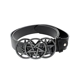 Black PU Belt with Triple Pentagram Buckle