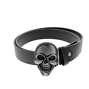Black PU Belt with Large Skull Buckle