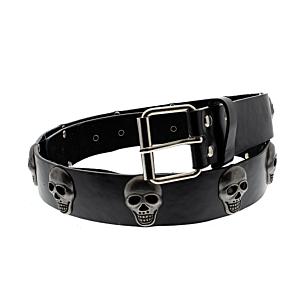 Black PU Belt with Skull Studs
