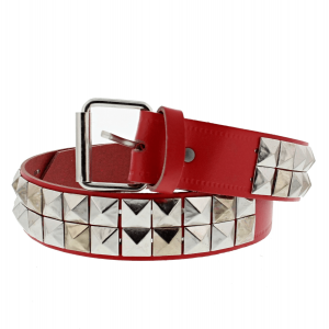 2-Row Pyramid Studded Reconstructed Leather Belts