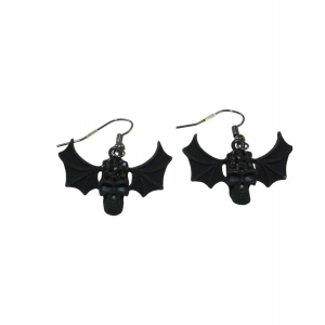 Jewelled Black Skull with Bat Wings Earrings