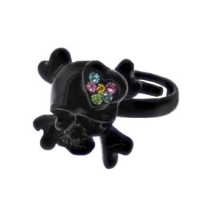 Adjustable Black Skull & Crossbone Ring with Multicoloured Gem Filled Heart