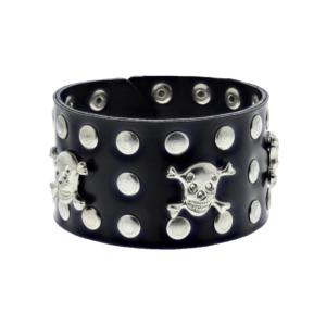 Black PU Bracelet with Skull & Crossbones & Silver Studs