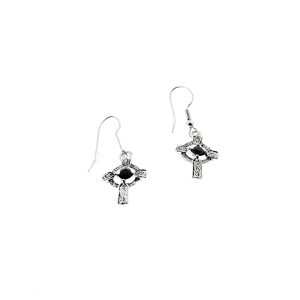 Celtic Cross Earrings with Stones - 2.0 x 1.4cm