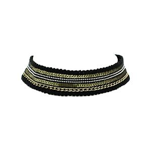 Gold Chain, Silver Bead & Black Lace Choker