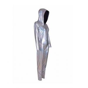 S/M Silver hooded catsuit