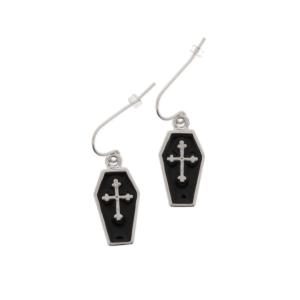 Cross Inside Black Coffin Earrings - 1.8 x 1.1cm Width