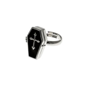 Adjustable Cross Engraved Black Coffin Ring