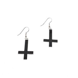 Upside Down Black Cross Earrings - 3.1 x 2.0cm