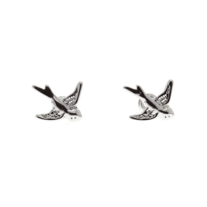 Silver Swallow Earrings - 1.3cm Width