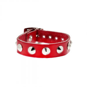 Red 1-Row Conical Studded Leather Bracelet with Buckle