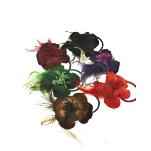 Black 2-Tone Flowers with Feathers on Elastic & Pin