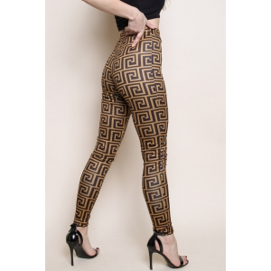 Geometric Print High Waisted Leggings gold