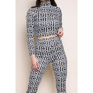 Geometric Print Top & Leggings Set - White