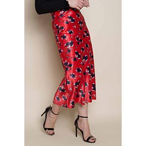 Floral Bias Satin Midi Skirt