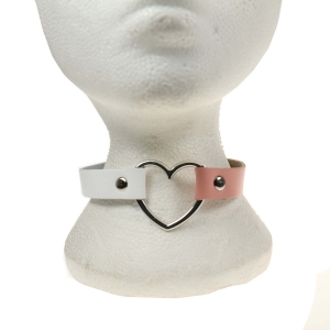 HANDMADE HEART FITTING LEATHER NECKBAND WHITE AND BABY PINK
