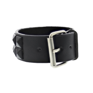 Black on Black 2-Row Pyramid Studded PU Bracelet with Buckle