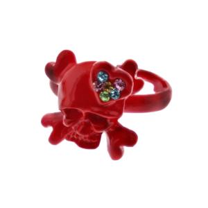 Adjustable Red Skull & Crossbone Ring with Multicoloured Gem Filled Heart