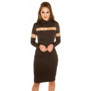 SHIFT DRESS WITH DECO CHAINS - Brown