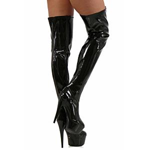 Black patent platform tight boots