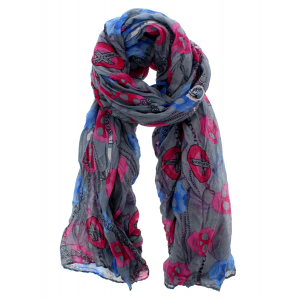 Grey Wrinkled Scarf with Chains, Crosses & Skulls