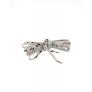 Pair of White Shoelaces with Cherry Print