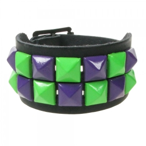 SMALL GREEN AND PURPLE PYRAMID LEATHER WRISTBAND