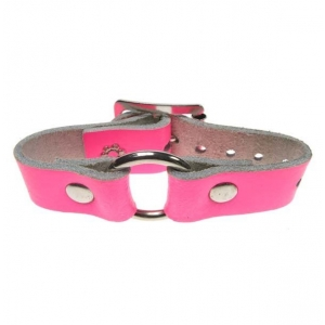 HANDMADE ROW SMALL RING JOIN LEATHER WRISTBAND PINK