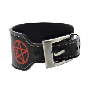 Black PU Bracelet with Red Pentagrams