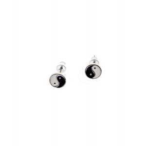 Yin Yang Stud Earrings - 0.8cm Width