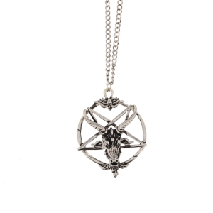 Ram on Pentagram Pendant Chain Necklace (4cm Diameter)