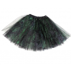 3-Layer Emerald Green Cobweb Design Tutu Skirt