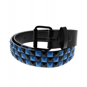 Black & Turquoise Chessboard 3-Row Pyramid Belts